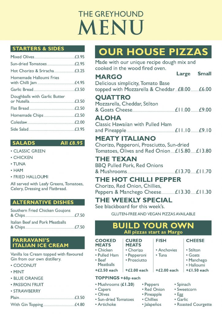 Greyhound Botesdale Menu